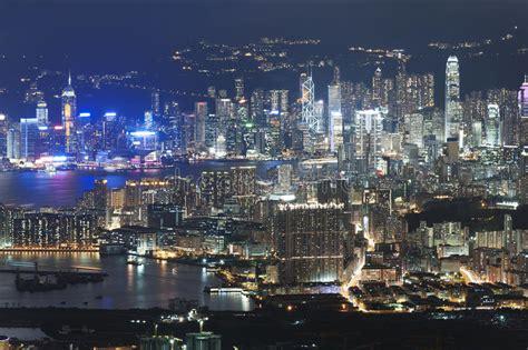 hong kong city night stock image image  neon business