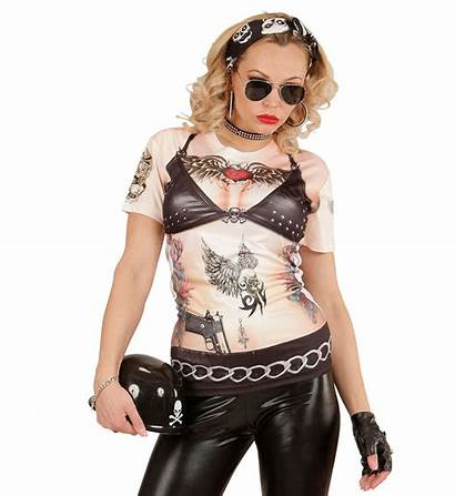 Biker Chick Rocker Realistisch Shirts