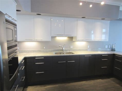 ikea kitchen furniture uk gray bottom white uppers hardware is installed
