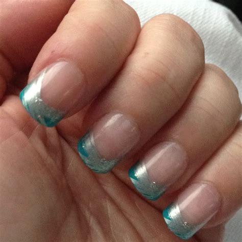 teal nail designs teal and silver tip nails nail