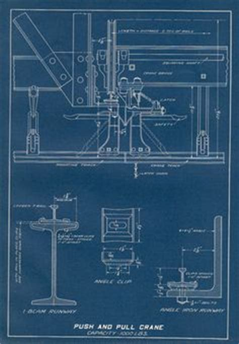 print engineering blueprint electric hoist and trolley 1930s vintage technical diagram