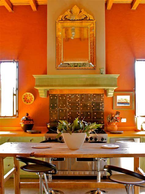 Wondrous Orange Spanish Style Kitchen Wall Painted Also