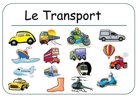 Le Transport Presentation (flashcards) French By