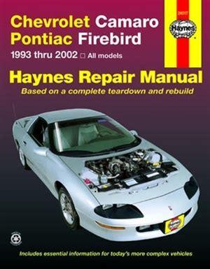 auto manual repair 1984 pontiac firefly electronic throttle control haynes repair manual for chevy camaro and pontiac firebird 1993 thru 2002