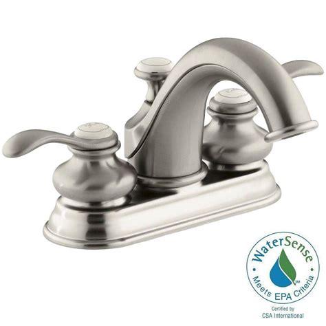 kohler fairfax kitchen faucet brushed nickel kohler fairfax 4 in centerset 2 handle low arc water