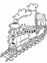 Coloring Steam Engine Train Freight Printable Getcolorings sketch template