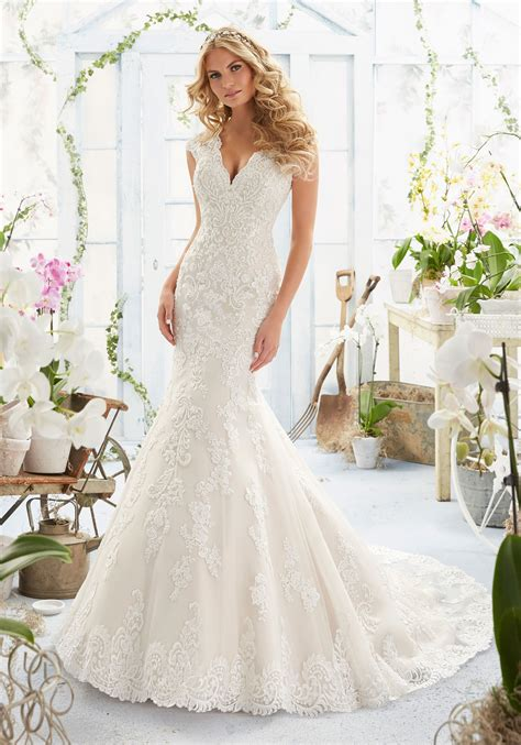 morilee wedding dress embroidered appliqués on wedding dress style 2806