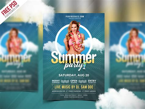 summer flyer templates free best free summer party flyer psd template psdfreebies com