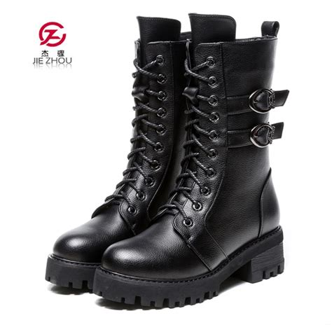 Genuine Leather Women Martin Boots Winter Warm Shoes Botas