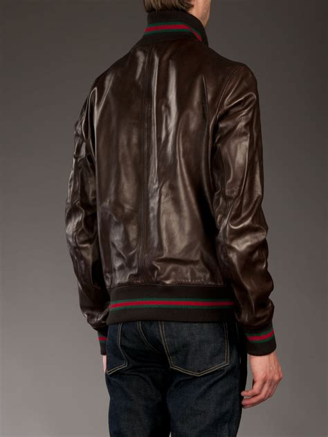 gucci leather jacket  brown  men lyst