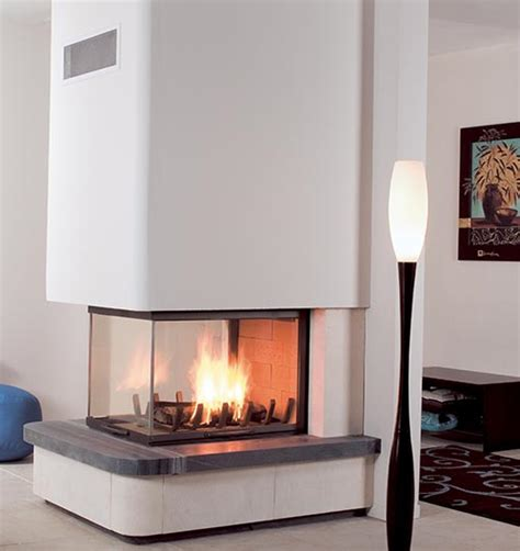 multivision wood fireplaces french designer suspended