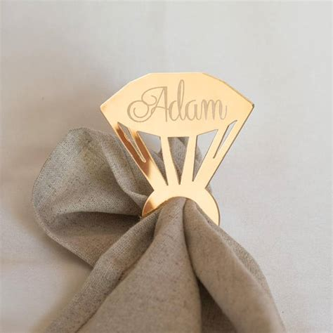 personalised wedding napkin ring custom made laser cut mirror gold diamond ring napkin holder