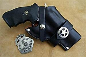 black and white gift certificate custom leather holster for a 3 barrel revolver holster4