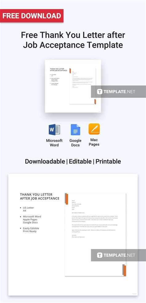 FREE Thank You Letter after Job Acceptance Template - Word ...
