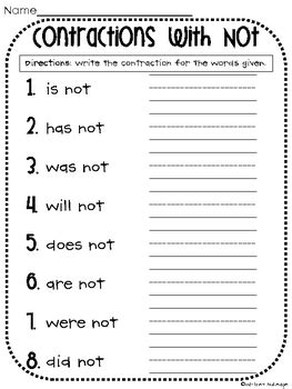 contractions   worksheet  whitney gulledge