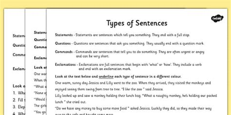 Types Of Sentences Differentiated Activity Worksheet  Esl Sentence Resources