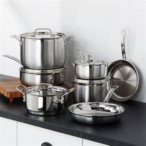 cuisinart multiclad pro tri ply stainless steel  piece cookware set reviews crate  barrel