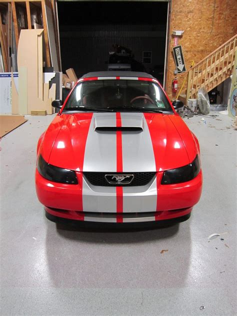 red mustang gt  silver racing stripes red mustang