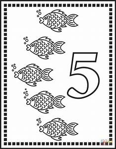 Number 5 Or Five Fishes coloring page | Free Printable ...