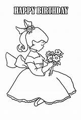 Coloring Birthday Flowers sketch template