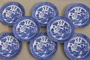 vintage Japan blue willow china set of 8 dinner plates