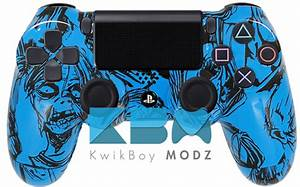 Custom Blue Zombies Ps4 Controller