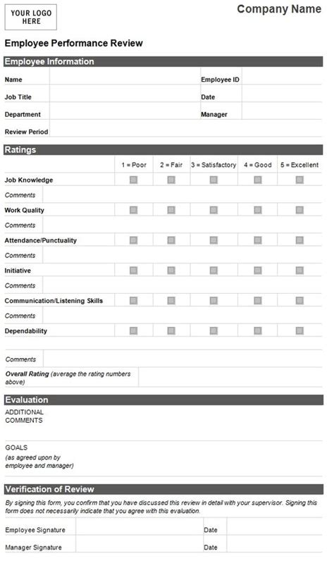 free performance evaluation forms employee evaluation template employee performance