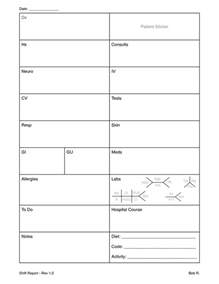 Nursing Report Sheets Nurses Templates