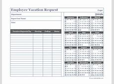 2016 Business Employee Vacation Request Free Printable