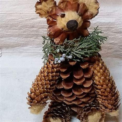 uniquely designed pine cone bear   sustainable
