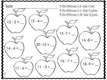 apple subtraction color worksheets freebie  shirley