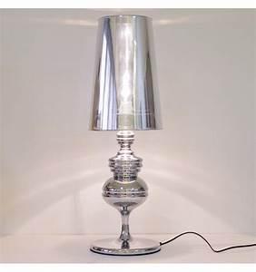 Lampe de chevet design argentée (E27) Hanoï