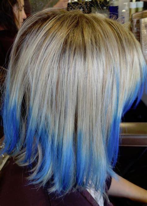 medium blue tips long hairstyles