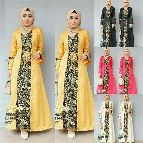 model dress muslim kombinasi 35 model baju gamis batik terpopuler 2018 model baju