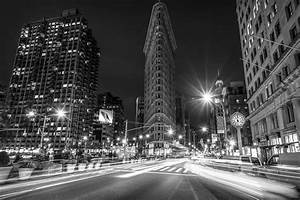 Flatiron Building At Night Black And White Photograph by ...
