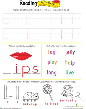 get ready for reading all about the letter l worksheet education com