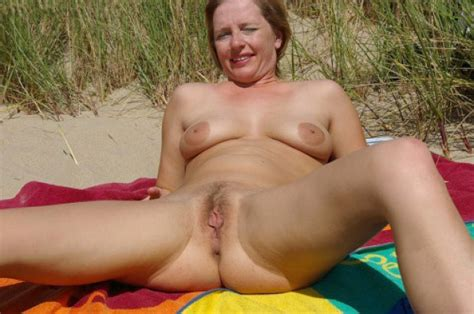Mature Wife Spreads Her Legs At The Beach