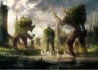 Fantasy Giant Golem Birds Landscape Wallpapers Desktop