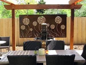 Outdoor allium steel art panel with natural rust patina