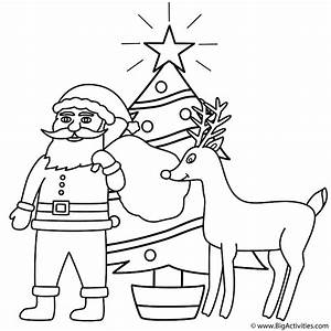 Santa Claus with Rudolph and Christmas Tree - Coloring ...