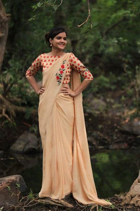 pure silkchiffonand net embroidered saree simple craft