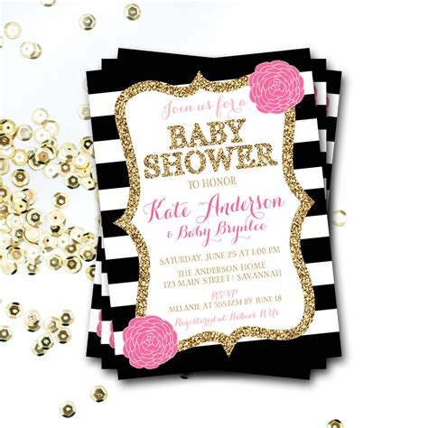 pink black and white baby shower invitation pink and black - Pink And Black Baby Shower Invitations