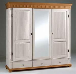 Kleiderschrank Antik Weiß : kleiderschrank 3t rig 195x199x62cm 1 spiegelt r geteilte t rf llung 3 schubladen kiefer ~ Frokenaadalensverden.com Haus und Dekorationen