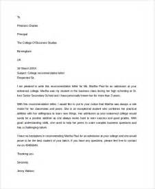 College Recommendation Letter Sample