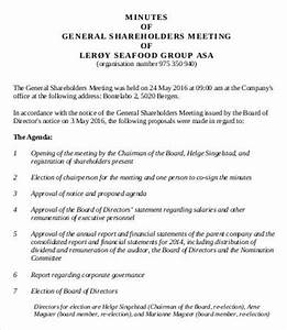 Shareholder Meeting Minutes Templates - 7+ Free Word, PDF ...