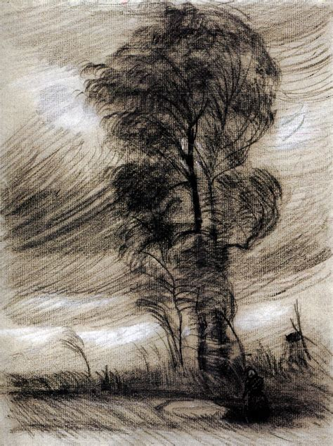 weather landscape gogh van vincent stormy 1885 sketch drawing realism vangogh storm wikiart looks