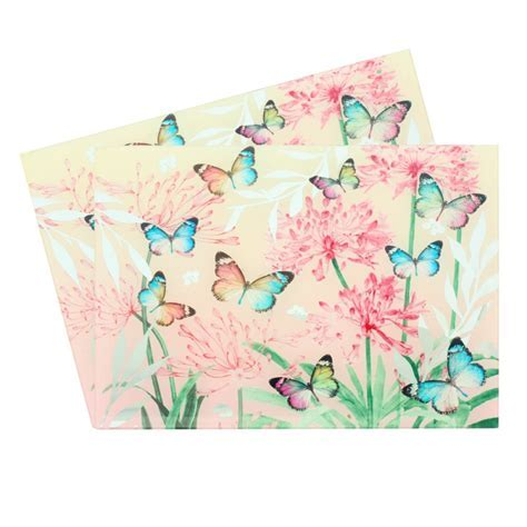 Butterfly and Blossom Mirror Glass Placemats Set of 2