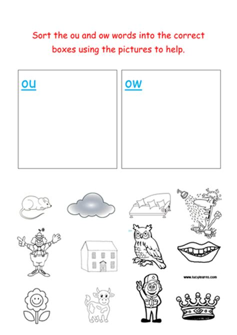 jolly phonics sorting ou and ow words by groov e chik