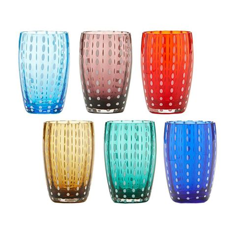 Zafferano Bicchieri by Zafferano Bicchieri Acqua Perle Multicolore Set 6 Pezzi