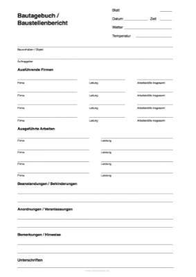 bautagebuch baustellenbericht vorlage als  datei zum